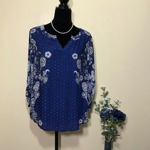 Christopher & Banks Blue/White Floral Pattern Top